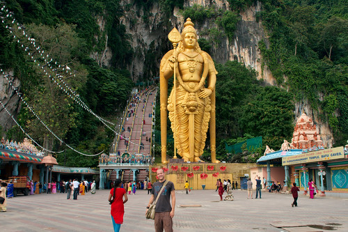 Batu Caves with the statue of Lord Murugan
