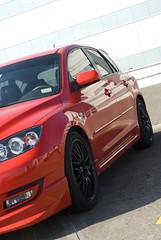 Mazdaspeed 3 w/ Enkei Wheels (Garzilly) Tags: red 3 black true speed nikon mesh front turbo springs short cobb lip 18 ram mazda rims 2008 hdr intake gunmetal enkei aftermarket d80 ekm3