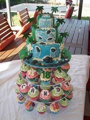 Mossy's masterpiece Candy's Luau waterfall cake with matching luau cupcakes for her 18th (Mossy's Masterpiece cake/cupcake designs) Tags: cake waterfall luau hawiian