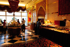 buffet tables, Al Iwan, Burj Al Arab (Simbon) Tags: food restaurant hotel dubai uae middleeast burjalarab buffet decor luxury unitedarabemirates jumeirah     luxuryhotel   arabianpeninsula 7starhotel aliwan towerofthearabs jumeirahgroup sailboathotel          7