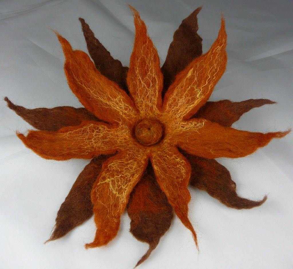 Autumn Felt & Silk Double Flower Corsage 1