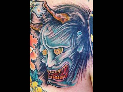Oni Mask Tattoo by Electric Lotus Tattoo and Piercing