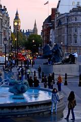 UK - London - Trafalgar Sq at dusk (Darrell Godliman) Tags: city uk greatbritain travel england people copyright travelling london fountain westminster nikon europe cityscape britishisles unitedki