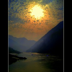Rishikesh (JannaPham) Tags: travel sunset sky cloud sun india reflection water sunrise canon river landscape golden boat bravo peace purple himalayas ganga ganges ixy  hrishikesh project365 81365  910is   jannapham nguyenquocthang
