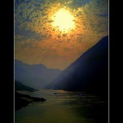 Rishikesh (JannaPham) Tags: travel sunset sky cloud sun india reflection water sunrise canon river landscape golden boat bravo peace purple himalayas ganga ganges ixy  hrishikesh project365 81365  910is   jannapham nguyenquocthang