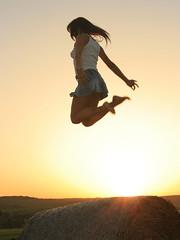 jumping over sunset (wunderskatz) Tags: sunset woman sun white green girl field shirt jump jumping mujer hungary mulher profile skirt denim hay brunette menina fata nanni rapariga brassaï femeie wunderskatz sokorópátka