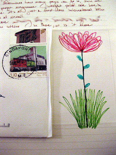 Singapore stamps + flower doodle