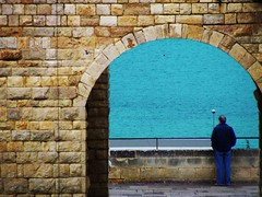 Loneliness Knows My Name... (_My Hero Is Gone_) Tags: sea italy man castle beautiful amazing mare loneliness colours gorgeous south awesome colored azzurro castello puglia sud barletta solitudine loveisallyouneed allyouneedislove naturepeople flickrlovers lonelinessknowsmyname