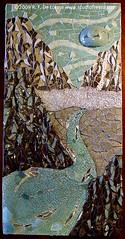 MAKAI (to the sea) (Studio Fresca) Tags: china sea sky mist art broken glass river tile hawaii mirror recycled mosaic teal stainedglass cliffs pearls cranes kauai pottery raku seaglass reclaimed dishware piqueassiette temperedglass aquaocean