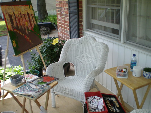 Painting setup on front porch