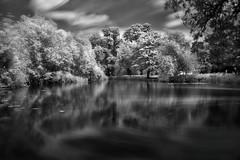 Spectral Pool (pixelpusher) Tags: uk longexposure england blackandwhite reflection water monochrome canon ir eos mono infrared southeast essex colchester castlepark hoya r72 400d superblack