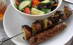 Potato Skewers with Sausage