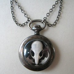 Steampunk Skull Pocket Watch Necklace * Ossury Relic by Nouveau Motley (Digby_Darling) Tags: mouse skull shrine antique victorian jewelry taxidermy jewellery bones shadowbox pocketwatch steampunk reliquary gemstone momentomori watchparts curiositycabinet steampunkjewelry nouveaumotley rachaeladams