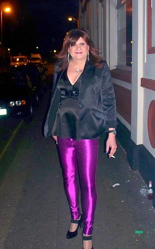 Street walking in spandex jeans