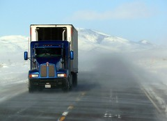Big Blue (DJ MacTrucker) Tags: snow ice weather highway nevada blowing wells trucking kenworth worldtruck