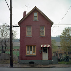 (patrickjoust) Tags: county street city red usa house color 120 6x6 tlr film analog america square lens us reflex focus pittsburgh mechanical metro kodak pennsylvania flag united north patrick twin mat pa v american 124g pro epson medium format states manual 500 expired 80 joust yashica allegheny braddock estados 160 80mm f35 c41 unidos yashinon v500 ektacolor autaut patrickjoust