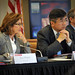 US Sen. Kay Hagan (left) and US Commerce Sec. Gary Locke listen.