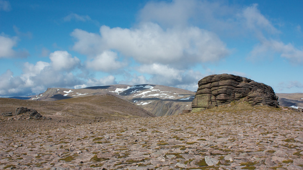 Ben MacDui from the summit plateau of Beinn Mheadhoin