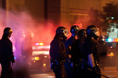 Police Move Into Crowd After Firing Tear Gas, Oakland Riots (Thomas Hawk) Tags: california usa america oakland riot unitedstates 10 unitedstatesofamerica protest bart police eastbay riots downtownoakland oaklandpd oaklandpolice fav10 bartpolice oscargrant oaklandriot oaklandriot2009 oaklandriots2009 oscargrantriots oaklandriots