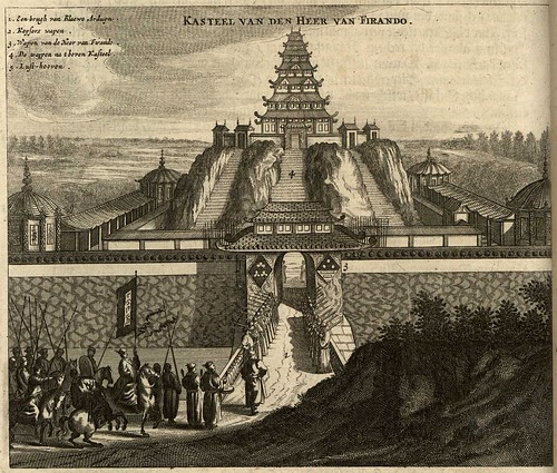 engraving of Ferando castle, Japan