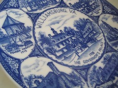 Williamsburg Souvenir (jenscloset) Tags: flowers blue brown white yellow vintage woodland virginia aluminum linen ducks plate cups williamsburg platinum porcelain saucers candlesticks teatowels corelle homerlaughlin pyrorey