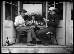 Three men playing cards in an alcove (Powerhouse Museum Collection) Tags: powerhousemuseum dc:identifier=httpwwwpowerhousemuseumcomcollectiondatabaseirn386881 xmlns:dc=httppurlorgdcelements11 cards men arthurphillips boys cardplaying cardgames gamblers gambling recreation cheating cardcheating alcoves alcohol card players cezanne blackandwhitephotogrpah homens cartas carteadomesa cadeiras bigode jogo menino janelas alcova game sitting 1900 fourofclubs