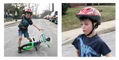 learning to ride - again (woodleywonderworks) Tags: fall bike spring diptych ride expression helmet riding ritual knee learn