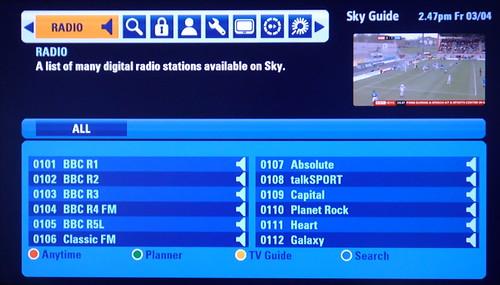 Sky+HD EPG 2 - Radio front