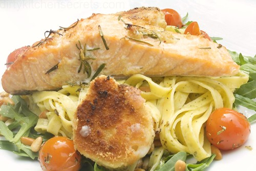 3423569184 26550a2217 Tagliatelle with Salmon & Crispy Goat Cheese
