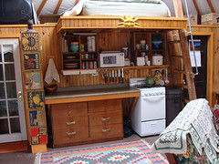 yurt kitchen with loft above (coyurtco) Tags: green yurt sustainable yurts enviornmentallyfriendly simplelifestyle coloradoyurt