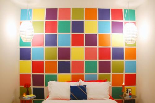 scrapbook paper mosaic wall