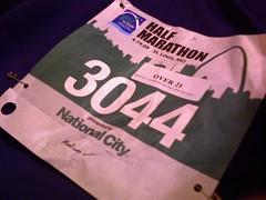 Go! St. Louis half-marathon race bib 4/19/09