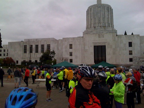 Riders of the 2009 Monster Cookie line up at the registration in front of the Oregon Capitol building. Chilly morning...