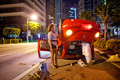 miami (miami fever) Tags: public girl volkswagen traffic miami accident beetle brickellavenue 2414l