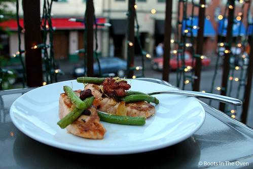 Salmon, Green Beans, Linguisa