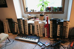 My Casio keyboard collection, currently (RyanLawranceMcGreer) Tags: keyboard sampler retro collection casio synth 80s yamaha keyboards keytar casiotone