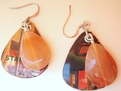 drops of sunshine earrings (Jupita) Tags: jewelry accessories earrings recycle eco repurposed earthfriendly upcycle starbuckscard trashion jupita