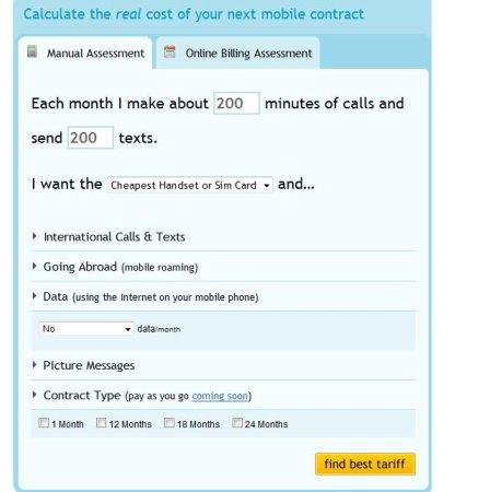 Bill Monitor mobile price plan selector