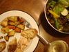 Roast chicken, veggies, salad (Elizabeth)