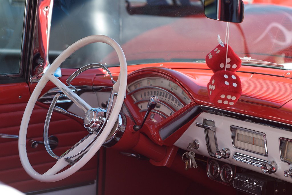 Classic Car Steering Wheel and Dash