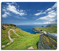 Tintagel Castle (Aaron_Bennett) Tags: uk blue sea sky color green castle art wall clouds rocks cornwall hills paths saxon tintagel kingarthur sigma1020mm nonhdr aaronbennett nikond300