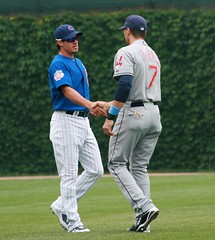 Old Team Mates (mikepix) Tags: chicago baseball cleveland indians cubs wrigleyfield 2009 markderosa ryantheriot bullpinbox