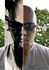15 -/ 365  . . (Drummy ™©) Tags: pierced goatee glasses diptych 365 textured drummy dragonstixx