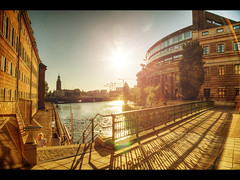 City in gold (Kaj Bjurman) Tags: sun eos gold sweden stockholm stan 5d sverige hdr kaj mkii strmmen markii gamla cs4 photomatix bjurman