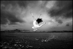 Leap of Joy (The Dream Seeker.) Tags: life china shadow blackandwhite woman white black color colour cute art girl monochrome fashion japan female contrast asian japanese photo still cool asia image chinese picture style pic icon korea korean fantasy shade     context                         passionphotography        redmatrix