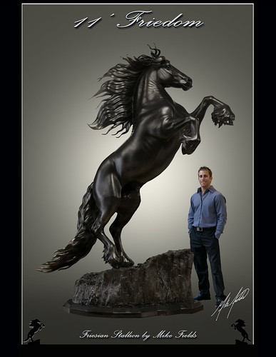 Friesian Horse Stallion. 11' Friesian Horse Sculpture