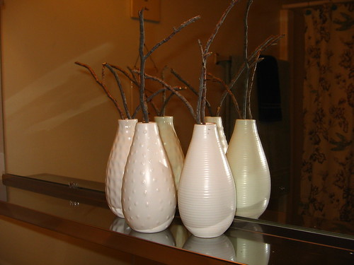 New vases in bathroom