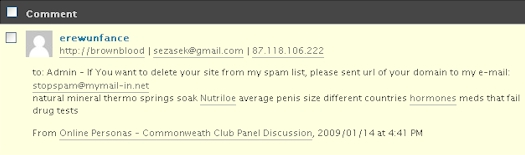 Brazen Comment Spam Submitted To e-strategyblog.com on 01/15/09
