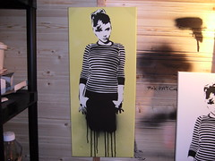 'GRAFF GIRL' by T*3 (stencil on canvas) (T  3) Tags: street urban hot art girl studio graffiti stencil paint artist caps shed spray canvas painter drips cans xxx speakers