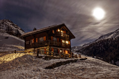 Chalet reloaded (andi_apple) Tags: moon snow mountains night schweiz switzerland nightshot swiss zermatt findeln